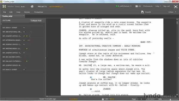 Editing scripts: Up and Running with Adobe Story