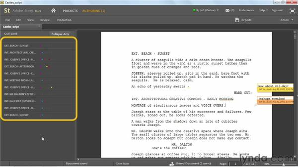Adding comments to scripts: Up and Running with Adobe Story