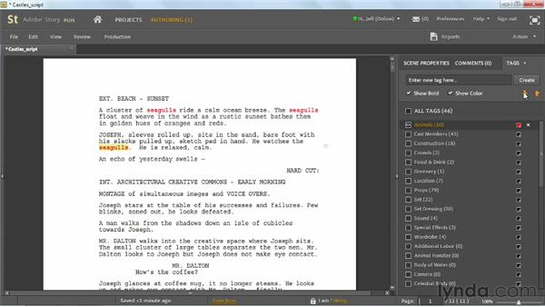 Tagging script production items: Up and Running with Adobe Story
