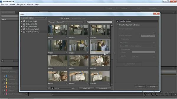 Explaining ingesting: Transferring and transcoding: Up and Running with Prelude CS6