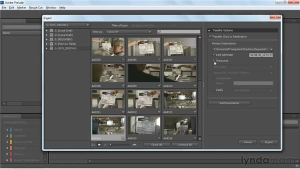 Transferring entire clips: Up and Running with Prelude CS6