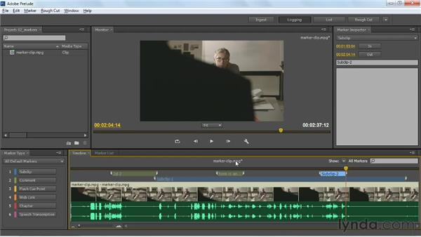 Using markers to create subclips: Up and Running with Prelude CS6