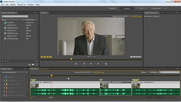 Trimming and rearranging clips in the timeline: Up and Running with Prelude CS6