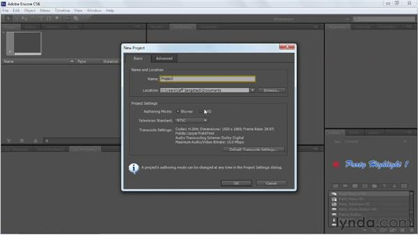 Creating a new project: Up and Running with Encore CS6
