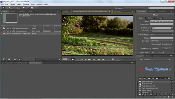 Importing assets: Up and Running with Encore CS6