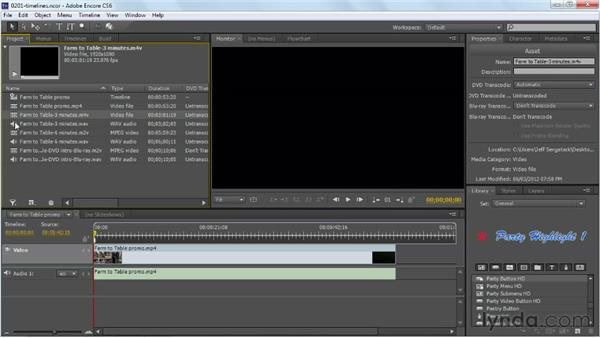 Making timelines: Up and Running with Encore CS6