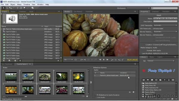 Creating slideshows: Up and Running with Encore CS6