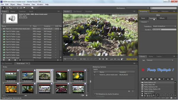 Applying slideshow transitions and motion: Up and Running with Encore CS6