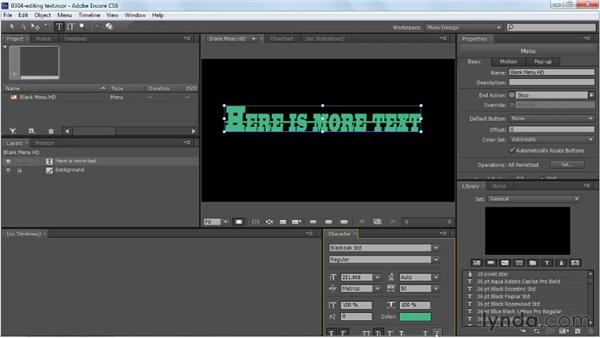 Working with menu text: Up and Running with Encore CS6