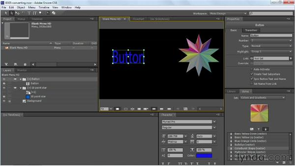 Creating buttons from text or graphics: Up and Running with Encore CS6