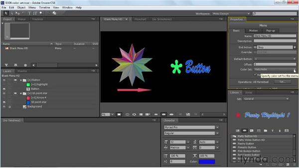 Working with menu color sets: Up and Running with Encore CS6