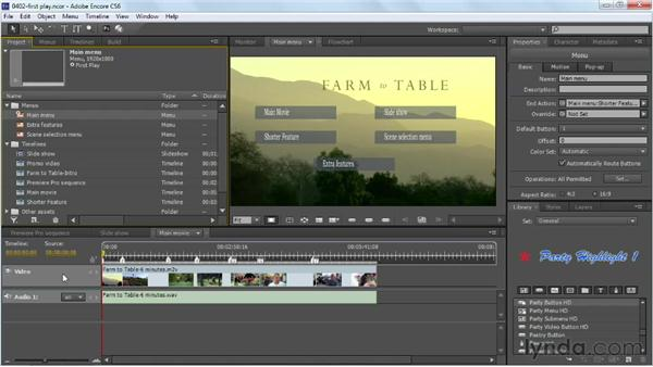Setting the first play asset: Up and Running with Encore CS6