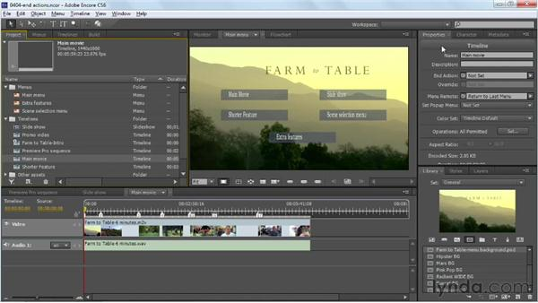 Setting asset end actions: Up and Running with Encore CS6