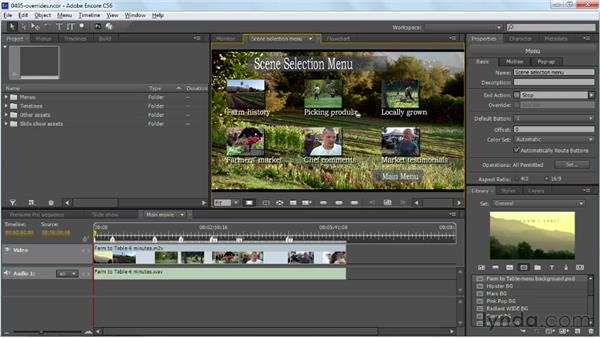 Setting button end action overrides: Up and Running with Encore CS6
