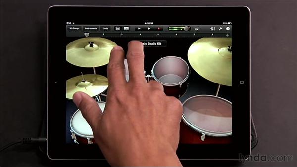 Playing drums: GarageBand for iOS Essential Training