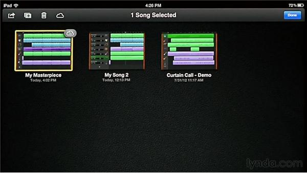 Syncing songs across devices with iCloud: GarageBand for iOS Essential Training