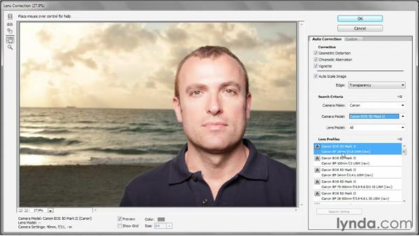Correcting for lens distortion: Photoshop CS6 One-on-One: Advanced