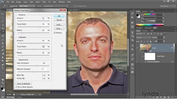 Mitigating halos with Radius values: Photoshop CS6 One-on-One: Advanced