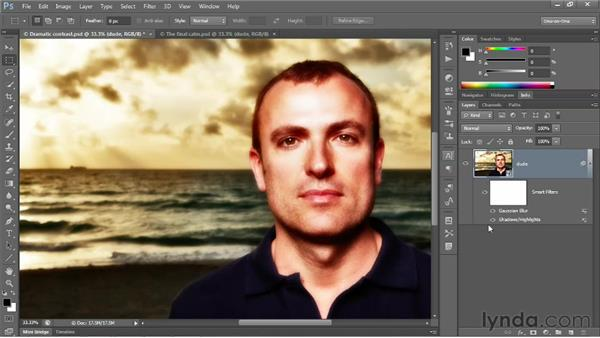 """Creating a """"bounce"""" with Gaussian Blur: Photoshop CS6 One-on-One: Advanced"""