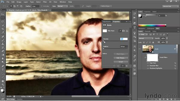 Reducing the density of a layer mask: Photoshop CS6 One-on-One: Advanced