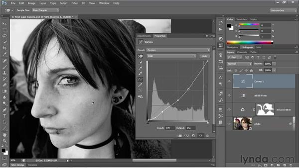Adding and editing points on a curve: Photoshop CS6 One-on-One: Advanced