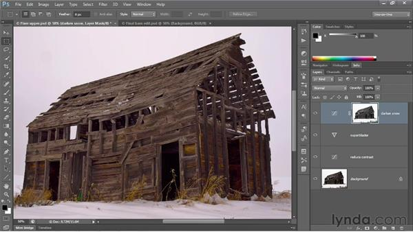 Selecting and darkening highlights: Photoshop CS6 One-on-One: Advanced