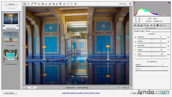 Applying manual lens corrections: Photoshop CS6 One-on-One: Advanced