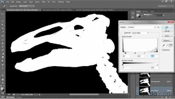 Viewing a mask with or without its image: Photoshop CS6 One-on-One: Advanced