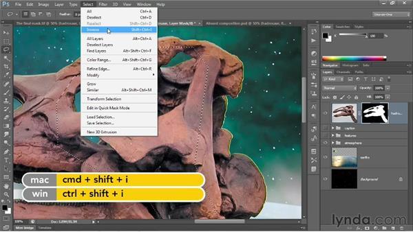 Correcting fringes around a masked layer: Photoshop CS6 One-on-One: Advanced