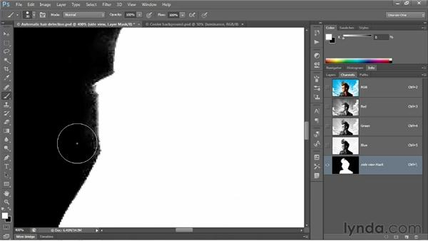 Perfecting a mask with overlay painting: Photoshop CS6 One-on-One: Advanced