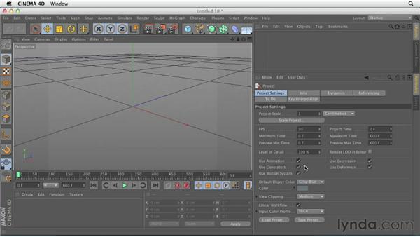Some important project settings: CINEMA 4D Essentials 1: Interface, Objects, and Hierarchies