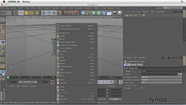 Using the Knife tool: CINEMA 4D Essentials 2: Polygon and Spline Modeling