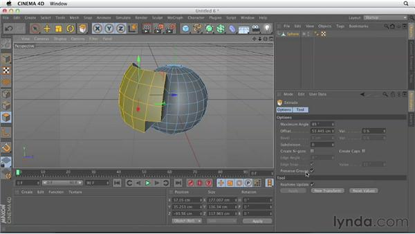Working with the Extrude tool: CINEMA 4D Essentials 2: Polygon and Spline Modeling
