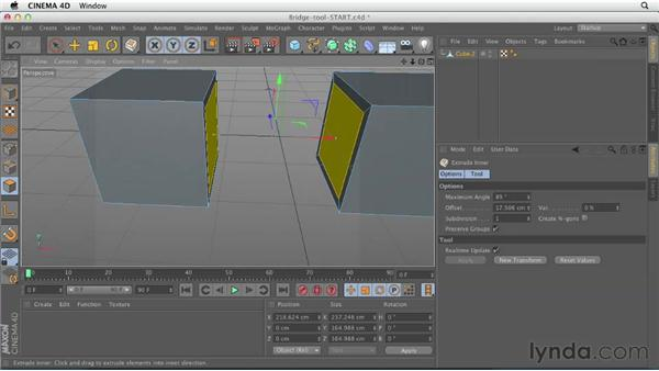 Working with the Bridge tool: CINEMA 4D Essentials 2: Polygon and Spline Modeling