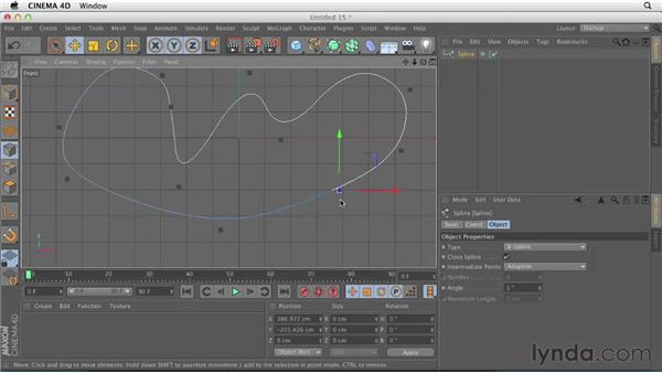 Working with spline points: CINEMA 4D Essentials 2: Polygon and Spline Modeling