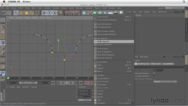 Connecting splines and rounding corners: CINEMA 4D Essentials 2: Polygon and Spline Modeling