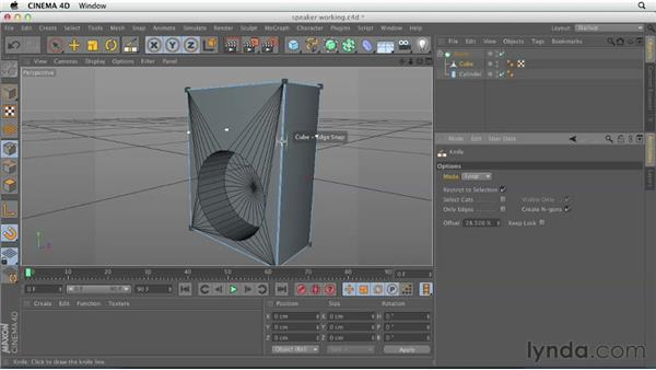 Building the cabinet with polygons and Booleans: CINEMA 4D Essentials 2: Polygon and Spline Modeling