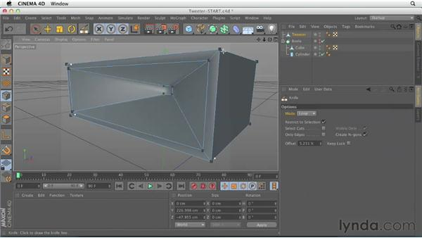 Modeling the tweeter with Extrude and Extrude Inner: CINEMA 4D Essentials 2: Polygon and Spline Modeling