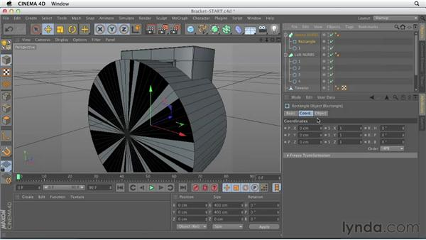 Creating the cone bracket using Sweep NURBS: CINEMA 4D Essentials 2: Polygon and Spline Modeling