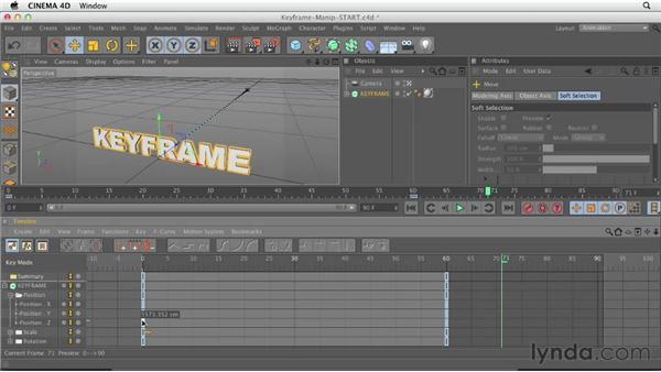 Manipulating keyframes in the Timeline: CINEMA 4D Essentials 3: Cameras, Animation, and Deformers