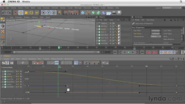 Working between keyframes with the F-Curve Manager: CINEMA 4D Essentials 3: Cameras, Animation, and Deformers