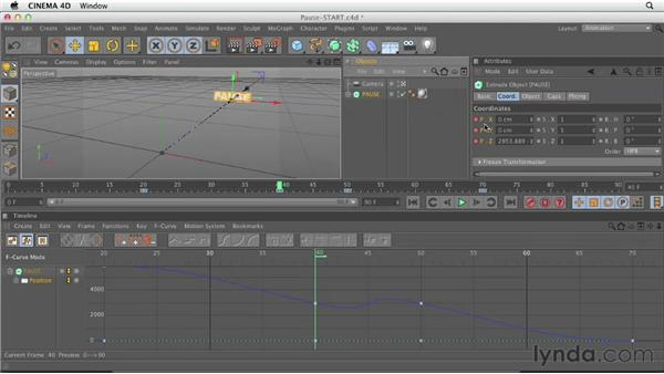 Pausing animation with curves: CINEMA 4D Essentials 3: Cameras, Animation, and Deformers