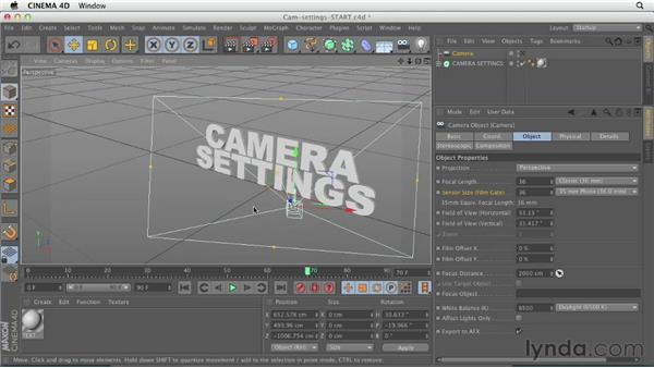 Exploring important camera settings: CINEMA 4D Essentials 3: Cameras, Animation, and Deformers