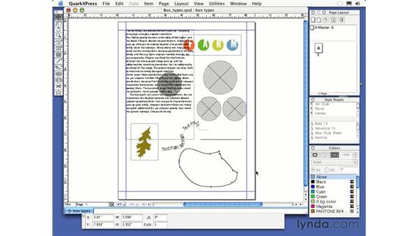 freehand textbox tool: QuarkXPress 6 Essential Training
