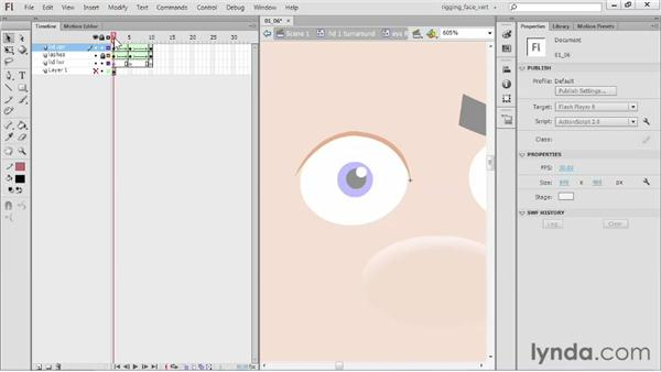 Animating the eye blink: Rigging a Face in Flash Professional