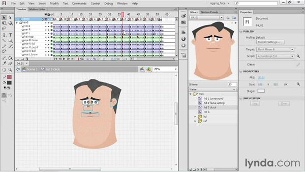 Clock rotation demonstration: Rigging a Face in Flash Professional