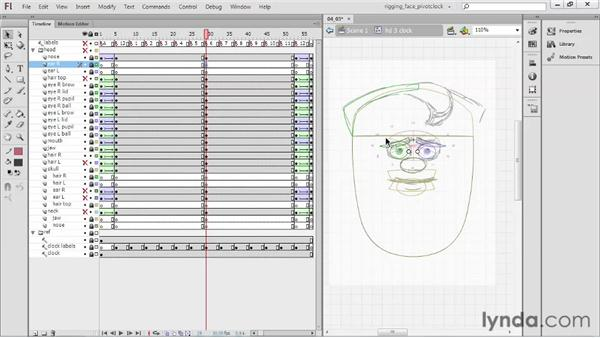 Creating the six-o'clock pose: Rigging a Face in Flash Professional