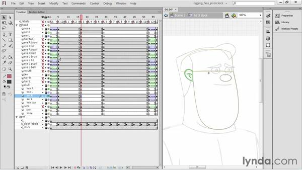 Creating the three-o'clock pose: Rigging a Face in Flash Professional