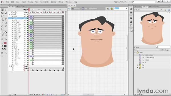 Creating the B head (3-quarter): Rigging a Face in Flash Professional