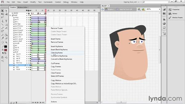 Moving frames between symbols to make a rotation: Rigging a Face in Flash Professional